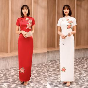 Bordados de seda do appliqué Vestido chinês longo vermelho Qipao Feminino vestido cheongsam China Vestidos de noiva Tamanho M-4XL