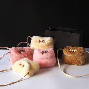 Новая мода Девушки Дети кошелек Bowknot Мини искусственного меха Дети сумки Креста тела сумка Удобная сумка Симпатичные дети