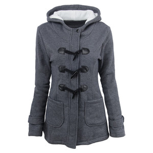 Hot style women's large size cotton-padded women's long hooded blend croissant leather pair button winter coat women