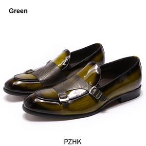 Zapatos De Vestir De Fiesta Boda Con Mocasines Para Hombre Cuero Patente Marca La Marca, Negro, Verde