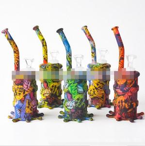 유리 그릇 기름에 드라이 허브 물 여과기 기억 만 흡연 다채로운 두개골 휴대용 오일 드럼 물 담뱃대 실리콘 물 파이프 집중