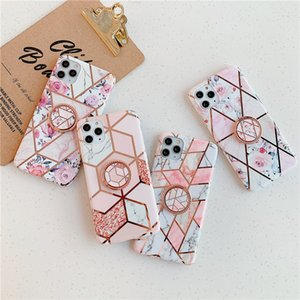 Pink Marble Geometric Diamond Flower Ring Holder Stand Tpu Phone Shell for Iphone 6 7 8 X Xr 11 Pro Max