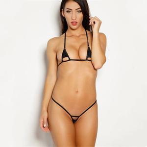 micro bikini 2019 femmes de couleur unie Sexy fille Sling Lotion creux plage Bain de soleil maillot de bain bikinis biquini monokini