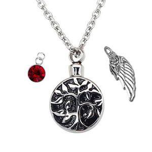 Joyas de cremación Cristal de piedra de nacimiento - Árbol de la vida Collar Colgante de urna - Recuerdo de cenizas conmemorativas
