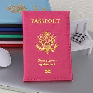 9 couleurs Mignon voyage Litchi USA Passeport Couverture Femmes Rose Etats-Unis Porte-passeport Covers américain pour les passeports filles Passport Case Wallet