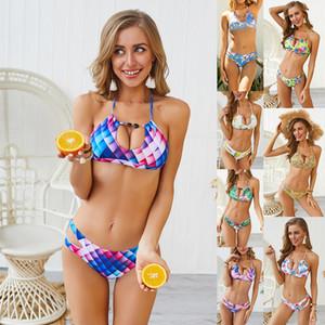 8 colores del verano del halter del traje de baño brasileño acolchado impresión digital trajes de baño de moda joyería atractiva Bikinis mujeres ropa de moda