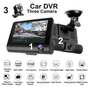 MD-DVR 4 '' Drei Objektiv-Spiegel-Auto-DVR 1080p Full HD Video Recorder fährt Rearview-Kamera-Schlag-Nocken G-Sensor Nachtsicht dashcam