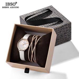 Ibso 2019 nova chegada mulheres relógio de luxo com pulseira de moda feminina de cristal pulseira relógio definir presente do dia dos namorados para as senhoras c19041201