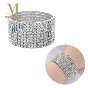 1 Pcs Shiny Bracelet for Women Crystal Rhinestone Stretch Bracelet Bangle Wristband Elastic Wedding Bridal Jewelry