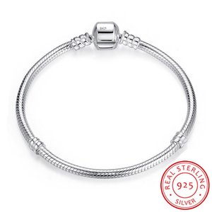 YHAMNI 100% Original 925 pulsera de plata maciza Charm Jewelry 16-23cm Largo Serpiente Cadena Pulsera Brazalete de Regalo para Las Mujeres LB005