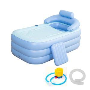 160 * 84 * 64cm azul de gran tamaño inflable Bañera SPA PVC plegable portátil para adultos con bomba de aire inflable del hogar de hidromasaje