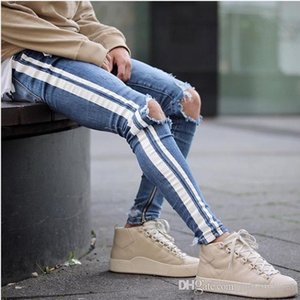 Mens Blue Ripped Holes Jeans Side Striped Skinny Straight Slim Elastic Denim Fit Jeans Male Fashion Long Trousers Jeans