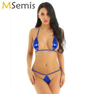 Femmes Sexy Extreme Trikini Notte métallique brillant Micro Bikini Lingerie Hot Set Triangle Lacets Bra Top + Mini String Slip