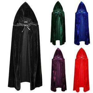 Moda Homens Mulheres Long Velvet capa com capuz Cloak Cosplay Unissex Atacado Acessórios Halloween Assistente Outwear Traje Princesa Bruxa