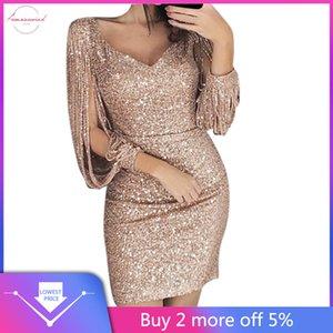 Women Dress Plus Size Xxxl Solido sexy paillettes Stitching brillante guaina Maniche lunghe Vestitino Vestidos de fiesta 45