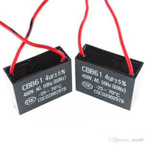 CBB61 fan Zündkondensator 450VAC 4uF mit Leitungskapazität Leitungslänge 10CM