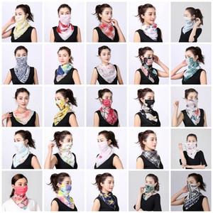 Frauen-Schal-Gesichtsmaske aus Seidenchiffon Handkerchief im Freien windundurchlässigen Helfen Face Staubdicht Sonnenschutz-Masken-Schal Staubmaske Partei-Schablonen T2I5796-1