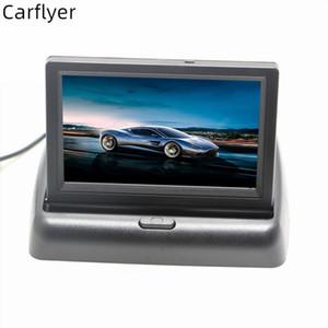 Carflyer 자동차 후면보기 카메라 반전 주차 시스템 4.3 인치 TFT LCD 백미러 모니터 방수 나이트 비전 백업 카메라