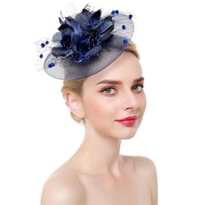 Women Tea Party Headwear Cocktail Flower Bridal Feathers Mesh Derby With Clip Headband Elegant Charming Fascinator Hat Wedding