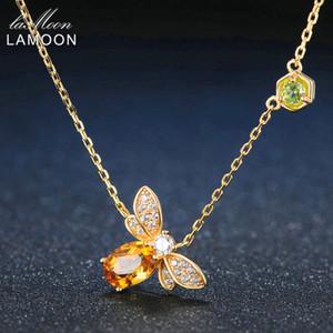 Lamoon Bee 925 colar de prata Sterling Natural Citrino Gemstone colares 14K real banhado a ouro pingente de jóias LMNI015