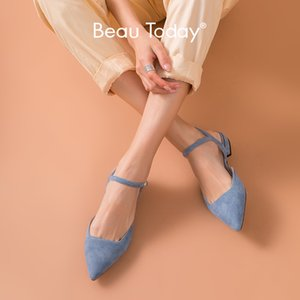 BeauToday Flat Sandals Women Genuine Leather Kid Suede Pointed Toe Buckle Strap Ladies Summer Shoes Handmade 32094 Y200702