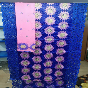 2019 New arrival african bazin riche getzner fabric with  cord lace fabric  guinea brocade for wedding HL082512