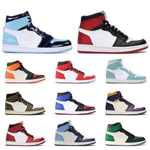 Yeni 1 1s yüksek OG erkek basketbol ayakkabıları Saten Siyah Parmak UNC Mocha Backboard Korkusuz Mahkemesi Mor atletik spor spor ayakkabıları mens paramparça