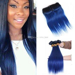 Malaysian Blau Ombre Glattes Haar Bundles mit Spitze-Schliessen 2 Tone 1B Blau Ombre Menschliches Haar Weaves mit Top Closure