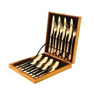 16 Pièces 4Se Dîner Set Arc-en-ciel / en or / noire en acier inoxydable Couteau de couteau Fourchette Scoops Couverts d'argenterie Set avec boîte-cadeau