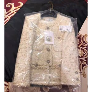 Cosmicchic luxe laine Veste en tweed Femme Automne élégant manteau blanc court long fil d'or manches tissage dames Veste