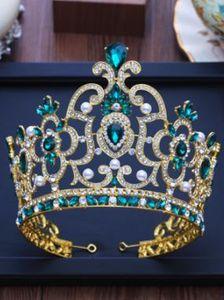 Pearl Water Diamond Green Big Round Princess European Crown Headdress Bride Matrimonio Crown Korean Marriage
