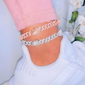 "9"" 10"" gold silver color pink 3 colors 5A cubic zirconia 10mm cuban chain butterfly leg chain foot jewelry women anklet summer CX200704"