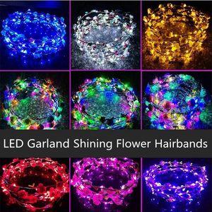 Parti Düğün Gecesi Pazar HHA401 için LED ışık Hiarbands Çelenkler Glow Çiçek Taç Çocuk Parlayan Garland Taç Oyuncak Baş Aksesuarları