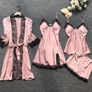 Summer Women Pajama Sets 4 Pcs Sexy Lace Pyjamas Women Satin Silk Sleepwear Elegant Pijama with Chest Pads Homewear