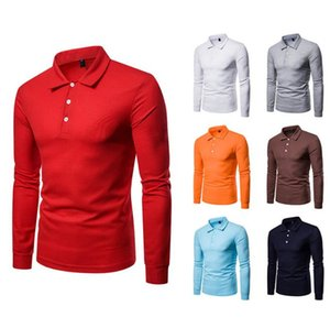 Solid Color Mens Polos Casual Lapel Neck Long Sleeve Slim Homme Polos Fashion Plus Size Man Tees