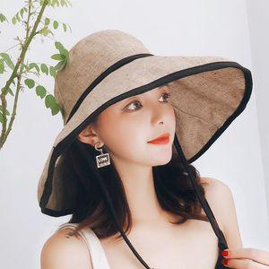7 Colors Women Beach Fisherman hat big eave cotton linen cloth hat Korean version windshield sunshade folding basin casual versatile sun