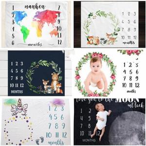 Kid flanela Blanket desenhos animados número impresso Cobertores Tirar foto fundo morno pano inverno Quilt Crianças Swaddling WY206Q