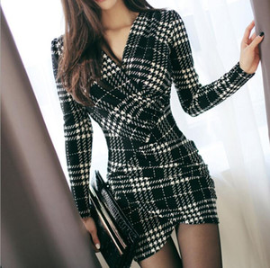 Elegantes vestidos de tela escocesa de primavera mujeres de manga larga bodycon oficina dama trabajo de negocios vestido lápiz vestido