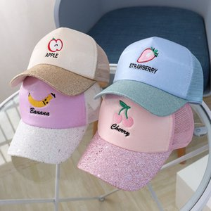 15521 Baseball Crianças Hat Crianças dos desenhos animados Fruit repicado Bola Cap Cap Rapazes Meninas Chapéus Baseball Sunhat