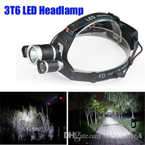 CRESTECH Best Selling 3T6 Farol 6000 Lumens T6 Head Lamp LED de alta potência farol Head Lamp Lanterna Chefe + carregador