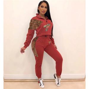 Femmes Leopard Patchwork Survêtements Automne Mode lambrissé 2Pcs Sets précarisés Set Sports