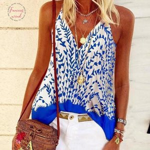 2020 Sexy Women Summer Boho Casual Beach Printed Leopard Floral Strap Halter Vest Tops Female Plus Sizes Ladies Shirt Camis