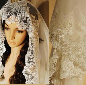3 미터 웨딩 드레스 신부 가운 빈티지 성당 베일 화이트 아이보리 소프트 얇은 명주 그물 아이보리 얇은 명주 그물 레이스 가장자리 빗