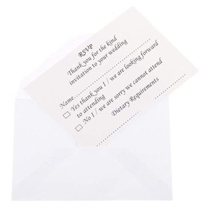 50pcs wedding banquet RSVP reply card with envelope