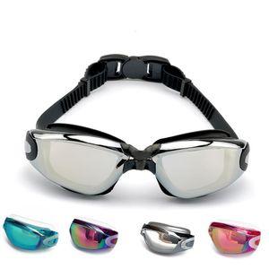 Плавательные очки очки анти-туман водонепроницаемый Electroplated Большой кадр противотуманным Electroplated Большая рамка плавательные очки