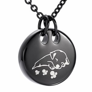DJX9941 En Acier Inoxydable Noir Chien de sommeil Collier De Crémation Forme Ronde Pour Animaux Mémorial pour Cendres Urne Pendentif Funéraire Souvenir Bijoux