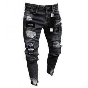 Homens Hot Vender Buraco Moda Jeans Reta Masculino Zipper Calça Casual Calças Estações Motorcycle elásticas