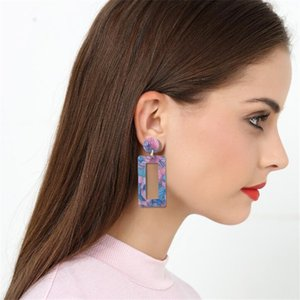 New Designer Earrings Tortoise Color Leopard Print Acrylic Acetic Acid Sheet Geometric Long Drop Earrings for Women BRW