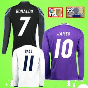 2016 2017 Retro real madrid futbol forması Uzun kollu RONALDO PEPE KROSS BENZEMA tam futbol forması 16/17 JAMES Vintage Camiseta de fútbol