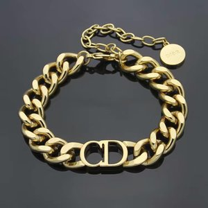 D harfi paslanmaz çelik bilezik ve kolye setleri moda bağlantı ile lüks tasarım takı erkek bilezik Altın Kalın Zincir bilezik